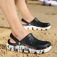 2019 Fashion Hot Sale Croc Men Black Garden Casual EVA Clogs Male Band Sandals Summer Slides Beach Swimming Shoes Size 38-46 47