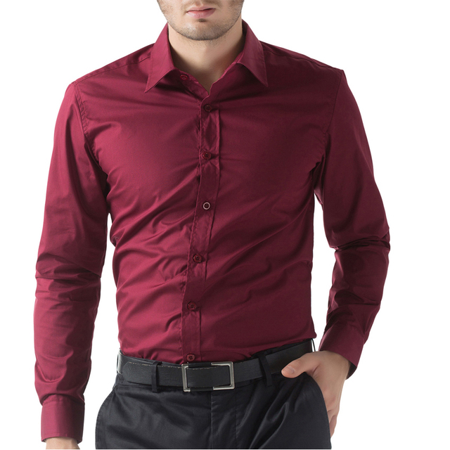 46b75198b Men's Camisa Social Stylish Slim Fit Solid Color Long Sleeve Hombre Shirt  Tops Black White Light Blue Wine Red Plus Size CL1044