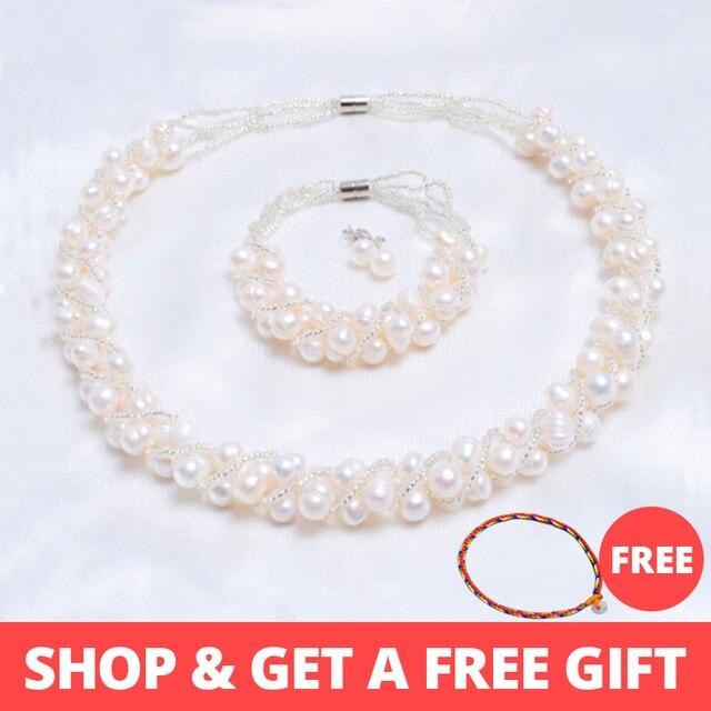 ASHIQI настоящий натуральный пресноводный жемчуг ручной работы Ювелирные наборы и более 4 цветов ожерелье серьги браслет для женщин свадебный подарок