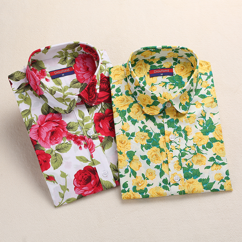 2017 Plus Size S-5XL Womens Long Sleeve Turn-Down Collar Cotton Shirts Fashion Yellow Floral Femme Blusas Tops Office Shirts New