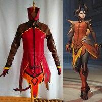 OW ангела Циглер Косплей Костюм Мерси демон кожи наряд костюм для взрослых женщин на Хеллоуин Карнавальная одежда
