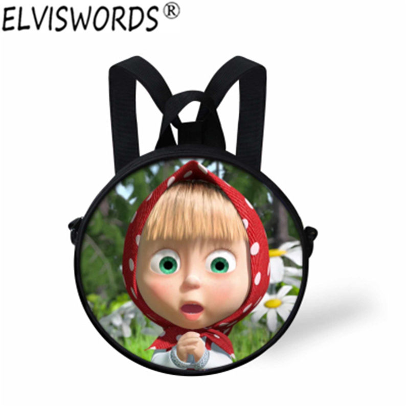 ELVISWORDS Cute Masha And Bear Shoulder Bags Kindergarten Baby Crossbody Bag For Boys 3D Cartoon Girls Kids Backpack Wholesale самокат next st pl masha and bear