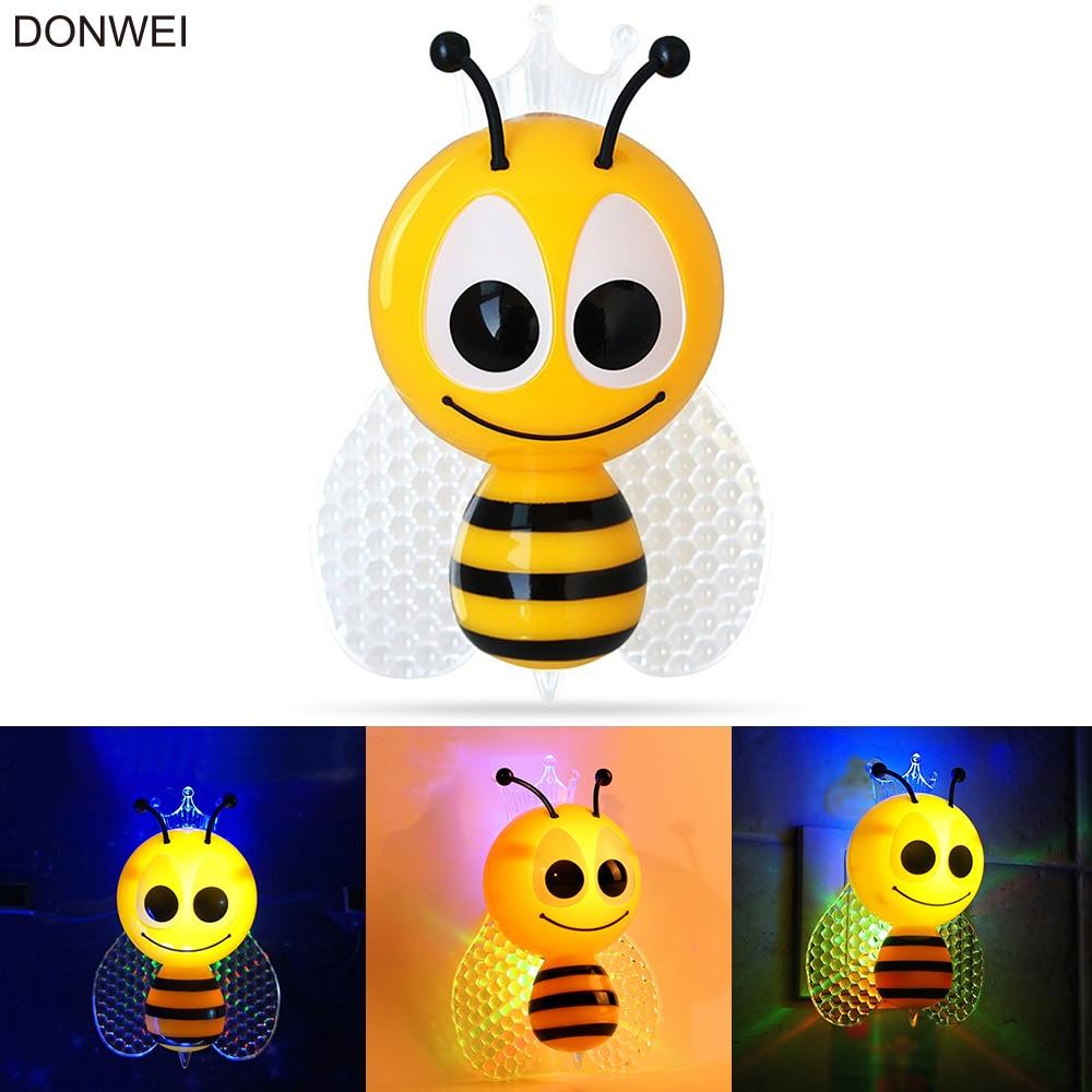 Light Sensor Cartoon Bee Led Night Light Cute Colorful Eu
