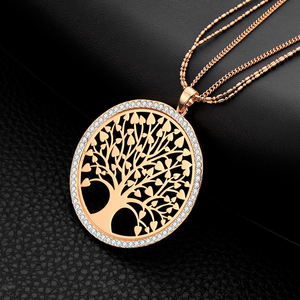 Tree of life Necklace Gold Color Maxi 2.1 Inch Round Pendant Women's Long Layered Necklaces Elegant Unique Sweater Chain Jewelry