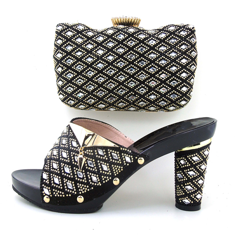 ФОТО BLACK Selling Fast Italian Shoes With Matching Bags African Women Shoes and Bags Set Wholesale.HHY1-11