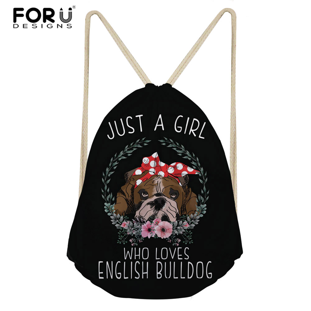 FORUDESIGNS English Bulldog Casual Drawstring Bag Multicolors Backpacks Casual Travel Bags Funny Dog Teenagers Mochilas