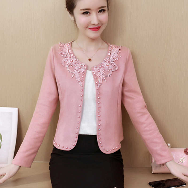 Spring Autumn Short Jacket Women Plus Size 4XL Pink Basic Jackets Beading Womens Thin Coats Long Sleeve Embroidery Outwear 2019