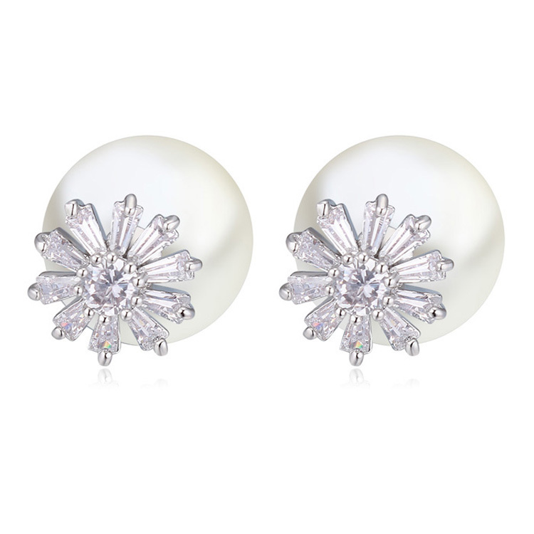 Double Sided Pearl Cubic Zirconia Earrings For Women Sun Flower Shaped Brilliant Cut Sparkling Cz Diamonds Earring 21263