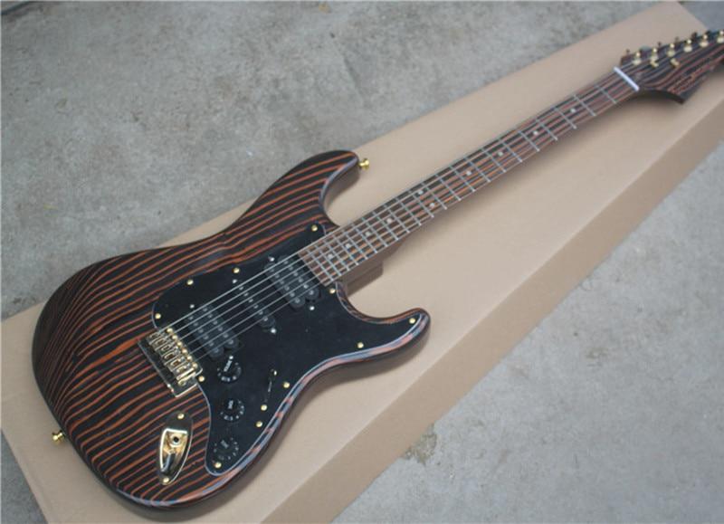 factory custom zebrano body 22 frets electric guitar with hsh pickups golden hardware black. Black Bedroom Furniture Sets. Home Design Ideas