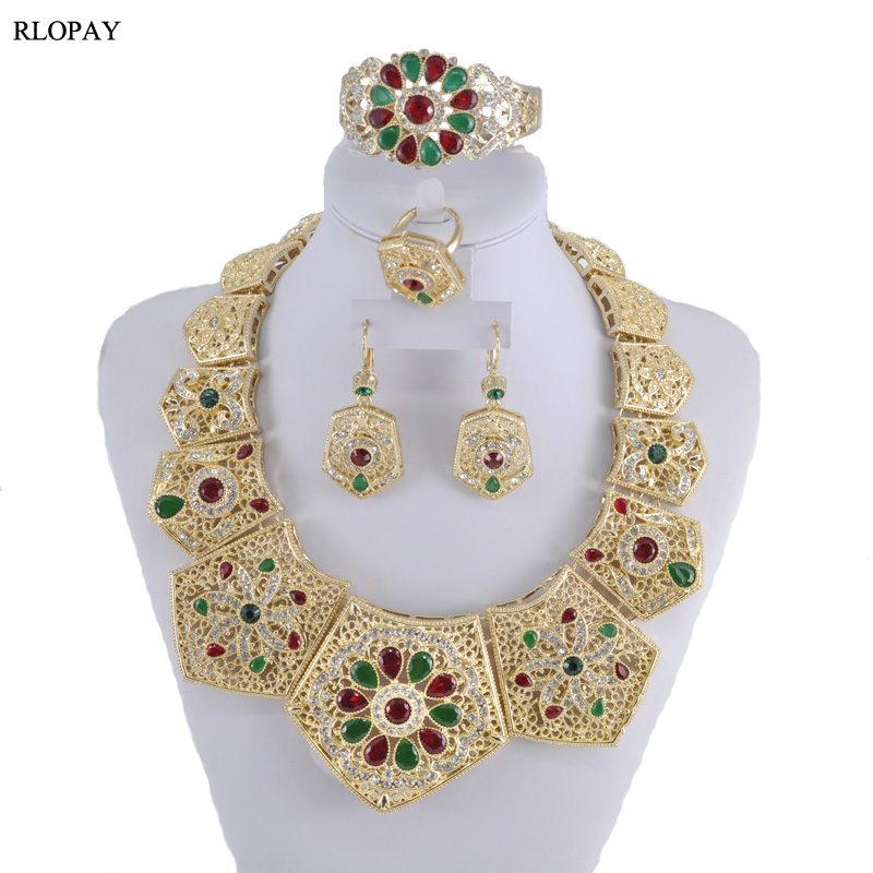 Luxury Wedding Jewelry Set Colorful Crystal Necklace For Women Arabic Muslim Costume JewelriesLuxury Wedding Jewelry Set Colorful Crystal Necklace For Women Arabic Muslim Costume Jewelries