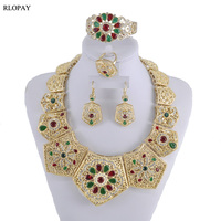 Luxury Wedding Jewelry Set Colorful Crystal Necklace For Women Arabic Muslim Costume Jewelries