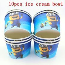 10PCS/LOT MINIONS ICE CREAM CUPS KIDS BIRTHDAY PARTY SUPPLIES MINIONS HAPPY BIRTHDAY PARTY ICE CREAM BOWLS WHOLESALE ICE CUPS цена