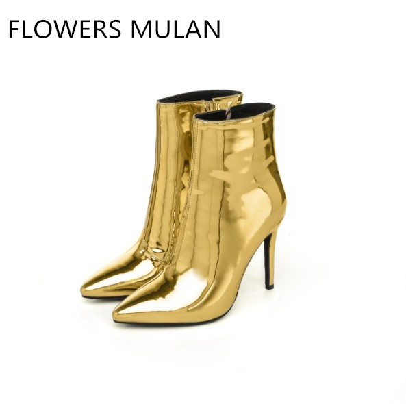 Luxury Gold Silver Genuine Leather Women Ankle Boots Sexy Pointed Toe Supper High Thin Heels Elegant Lady Shoes All-Match Girl women s ankle boots strappy pointed toe vogue comfy all match shoes