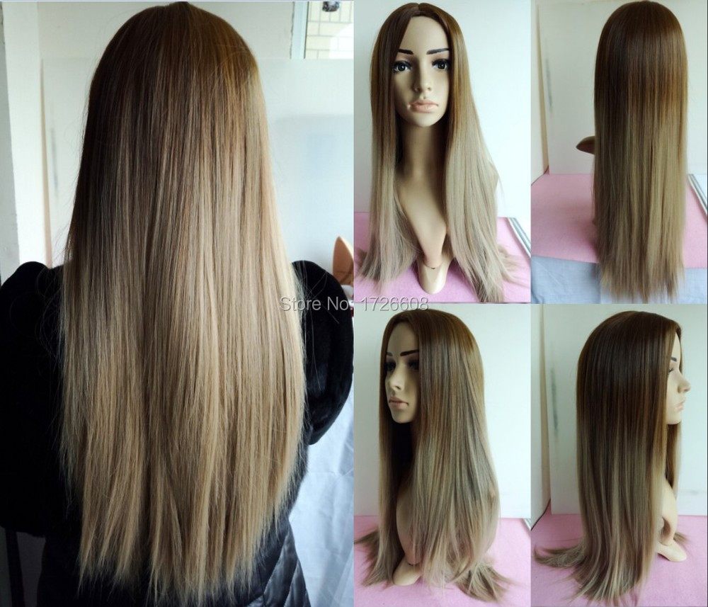 Two Tone Fashion Ombre Dark And Light Brown Celebrity Wig Long