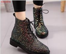New fashion Brand Women Ankle Boots Heels Female Shoes Woman Autumn Glitter Lace up Boots Casual Pink Black White(China)