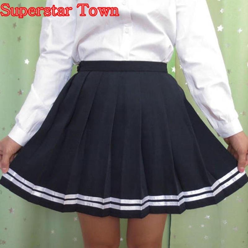 Vysoké pasové skládané sukně ženy Japonské pruhované sukně školní mříž Studentské uniformní sukně Harajuku letní saias Lolita oblečení