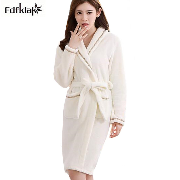 1bbd2f2424 Flannel winter robes women long sleeve thickening warm robe female homewear robes  night gowns bathrobes for girls 6 colors-in Robes from Underwear ...