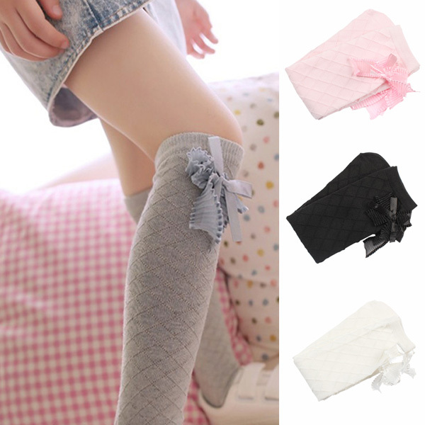 TOP Lovely Baby Kids Girls Bowknot Cotton Plaids Stockings School High Knee Stockings ...