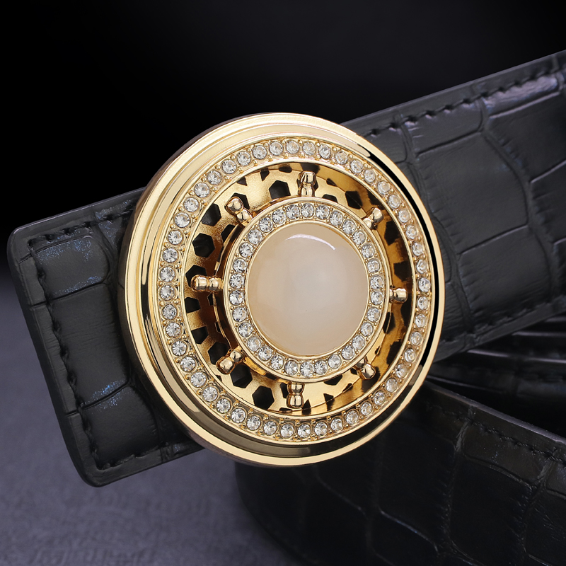 High Quality Designer Belt Men Genuine Leather Luxury Famous Rotate Round Buckle Crocodile Pattern Waist Strap Casual Waistband
