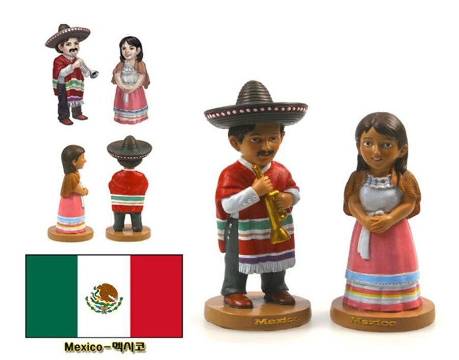 Лидер продаж ручная роспись Мексика национальные костюмы пара кукла статуя Изделия из смолы туризма подарок сувенир коллекция Домашний Де...