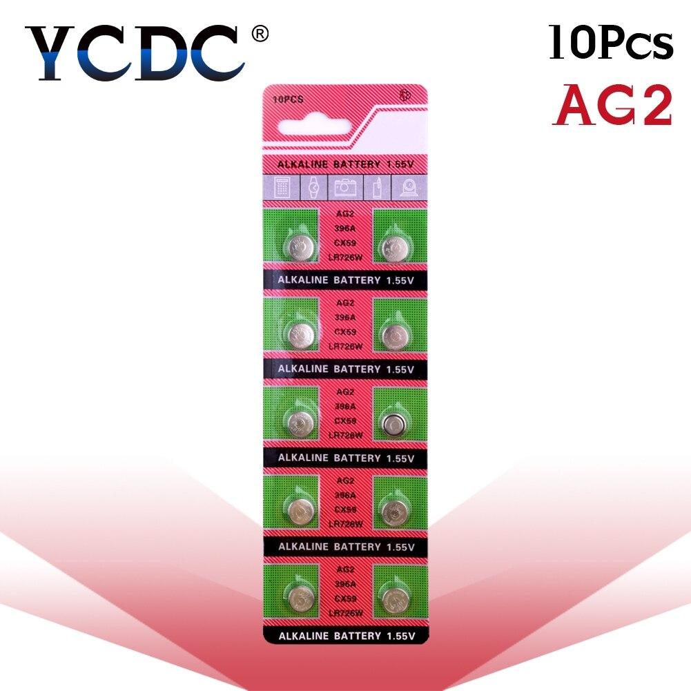 10pcs/pack AG2 LR726 396 Button Batteries SR726 196 Cell Coin Alkaline Battery 1.55V SG2 SR9 726 LR59 For Watch Toys Remote