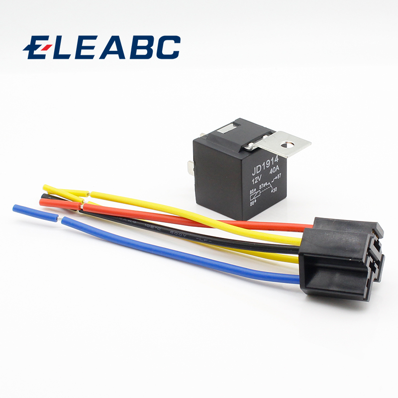 1 Piece Waterproof Automotive Relay 12v 5pin 40a Car Relay 12v 4pin With Black Red Copper Terminal Auto Relay With Relay Socket