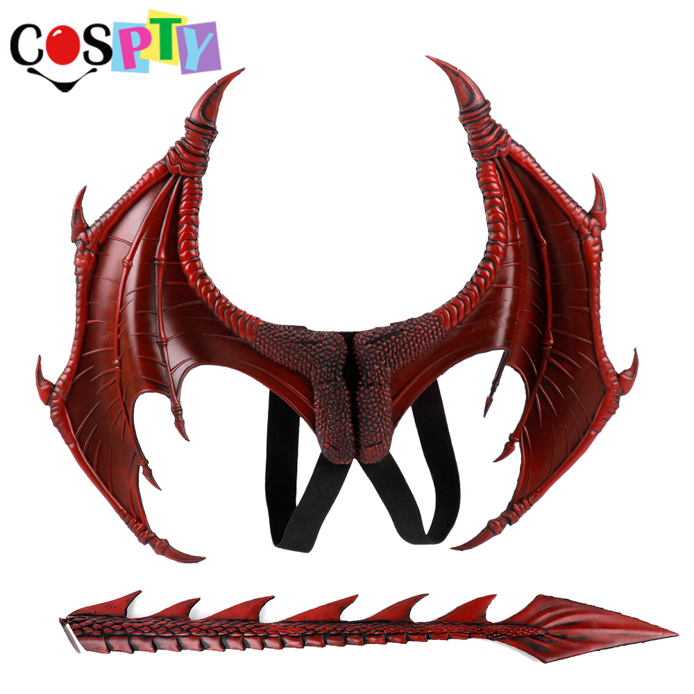 Cospty Disfraz De Dinosaurio Purim Halloween Gift Carnival Party Kids Cosplay Decoration Set Wing And Tail Child Dragon Costume