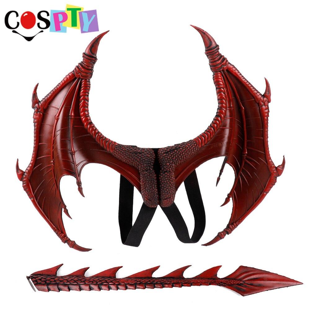 Cospty Disfraz De Dinosaurio Purim Halloween Karneval Party Kinder Cosplay Dekoration Set Flügel und Schwanz Kind Drachen Kostüm