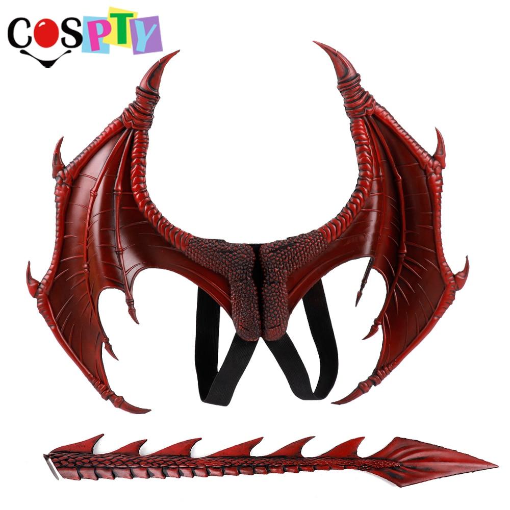 Cospty Disfraz De Dinosaurio di Carnevale di Halloween Del Partito Dei Capretti Cosplay Decorazione Set di Ali e Coda Bambino Drago Costume