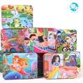 100 Pcs dos desenhos animados caixa de ferro caixa de quebra-cabeças de madeira crianças educação infantil de madeira puzzle brinquedo frete grátis