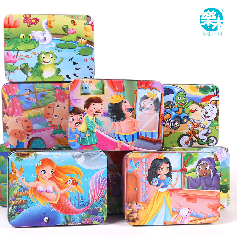 100Pcs cartoon puzzle iron box wooden jigsaw puzzles children early education wood toy free shipping cartoon wood