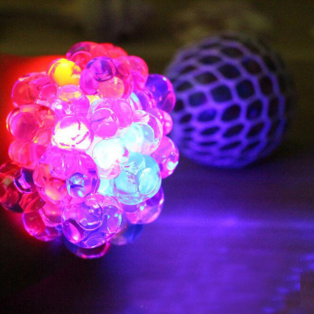 New Light Up Grape Ball Water Squeeze Squishy Crystal Clear Slime Anti Stress Relief Face Reliever Gift Prank Funny Toys