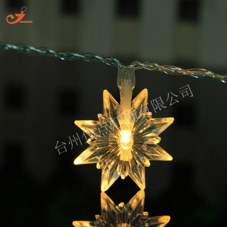 Winter Snowflake 10 LED Star String Light Retro Vintage Colorful Amber Bulb  Fairy Lights Party Patio