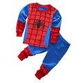 2015 novos meninos e meninas ternos das crianças Spiderman 2 pcs sleepwear pijama de manga longa ocasional dos desenhos animados se adapte 100% algodão