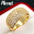 Almei Rose Gold Plated Big Rings for Women Fashion Anel Wide Punk Ring Jewelry With CZ Diamond Anillos Gifts Bague Femme CR002