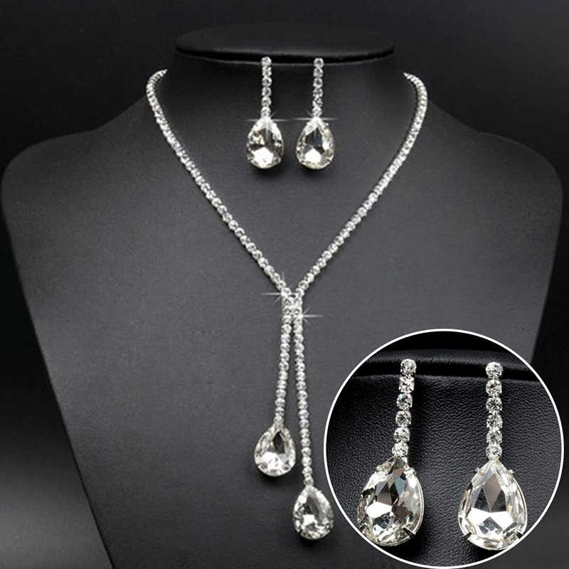Simple Luxury Full Crystal Chain Water Drop Necklaces & Pendants Dangle Earrings Sets Wedding Bridal Jewelry Sets 3Styles