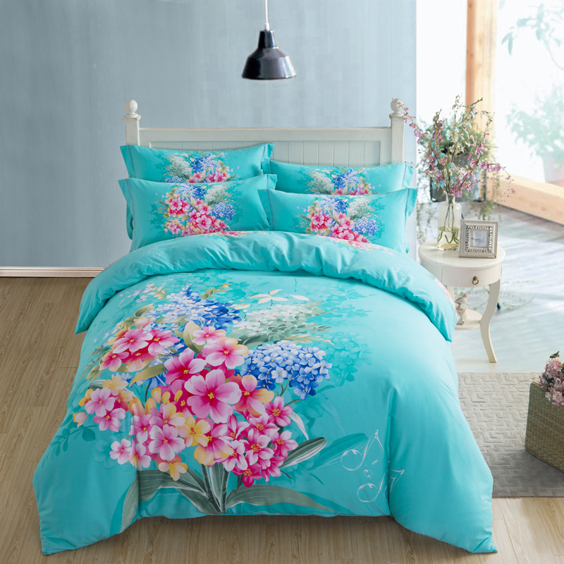 Beautiful Floral Turquoise Or Violet Red Bedding Set Queen