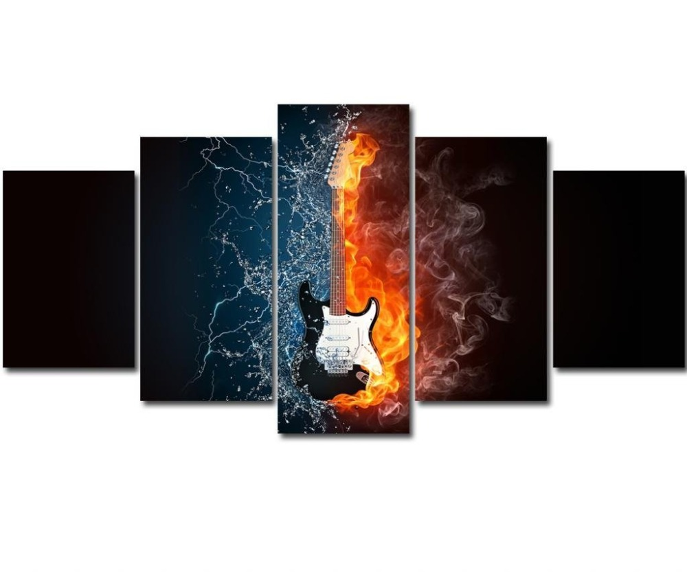 5 Panel HD Still Life Pictures Print On Canvas Abstract Guitar Wall Pictures For Living Room Wall Art Music Paintings in Painting Calligraphy from Home Garden