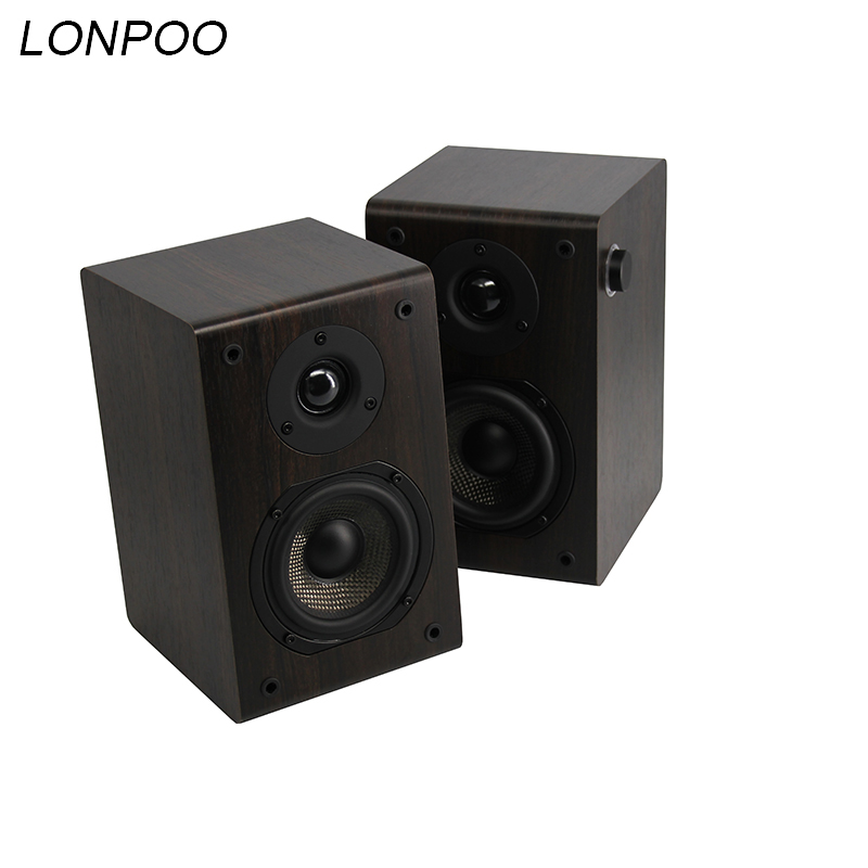 LONPOO Bluetooth Bookshelf Speaker 2-Way 75W Classic Wooden Loudspeaker with 4-Inch rotary knob Woofer and Silk Dome Tweeter aurum cantus leisure 2 5 3 4 inch 2 way 2 driver bookshelf speaker g2 aluminum ribbon tweeter pair