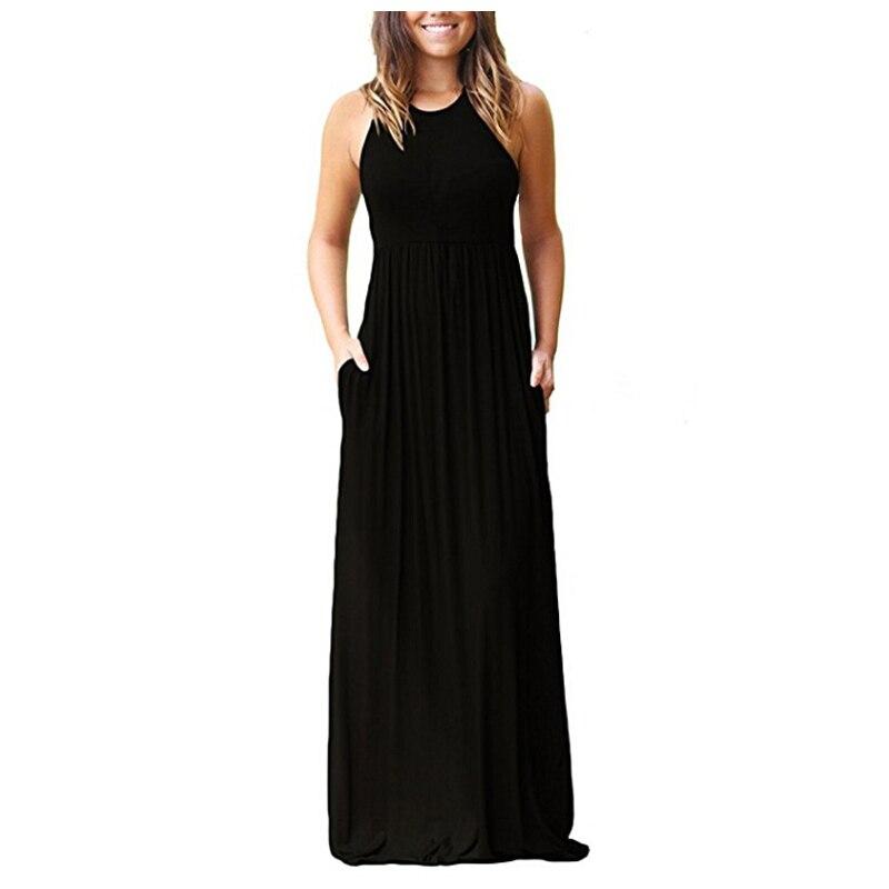HALIFE Women Sleeveless Racerback Plain Boho Maxi Dress Casual Floor Length Long Summer Dress With Pockets Clothes Femme YSK4
