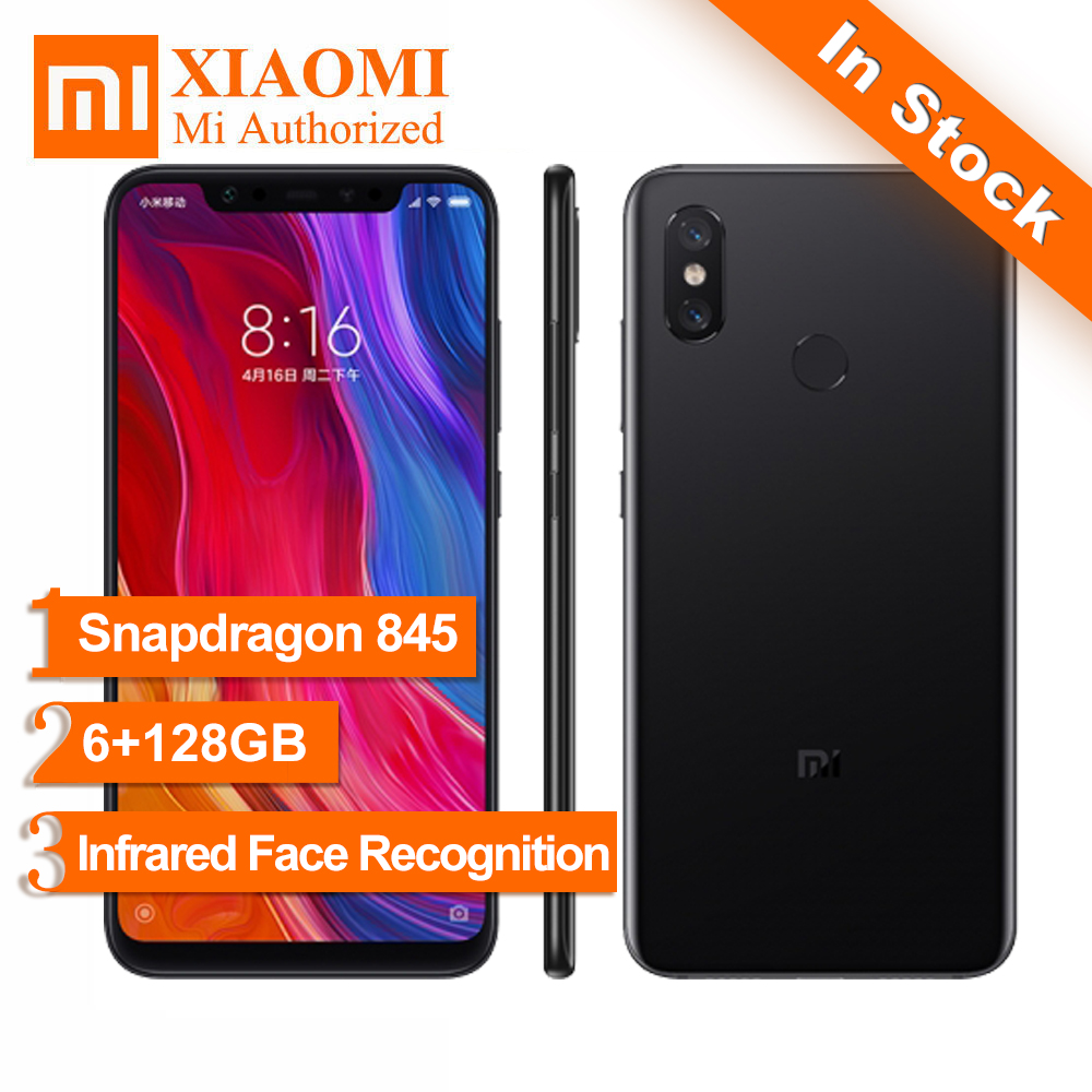 Original Xiaomi Mi 8 Mi8 6.21 inch FHD+ AMOLED Snapdragon 845 6GB RAM 128GB ROM 4G TD LTE Mobile Phone 20.0MP AI Dual Camera NFC