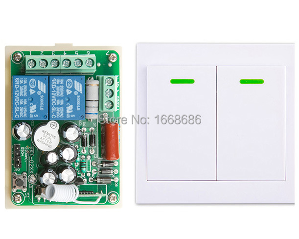New AC220V 2CH Wireless Remote Control Switch System Receiver +Wall Panel Remote Transmitter Sticky Remote Smart Home Switch