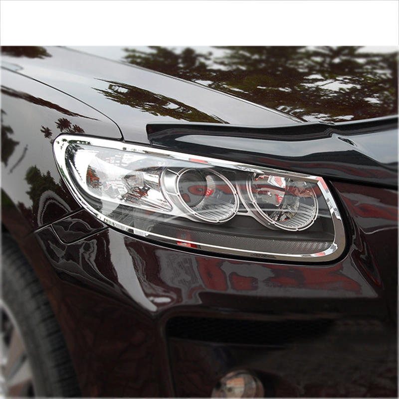 lsrtw2017 abs car headlight frame chrome trims for hyundai santa fe 2006 2007 2008 2009 2010 2011 2012