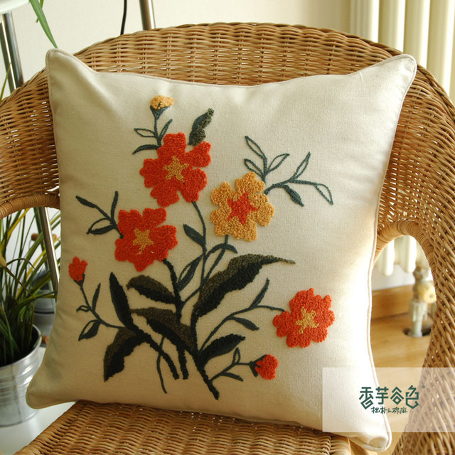 Chinese Handmade Embroidered Pillow Cases Flower Throw