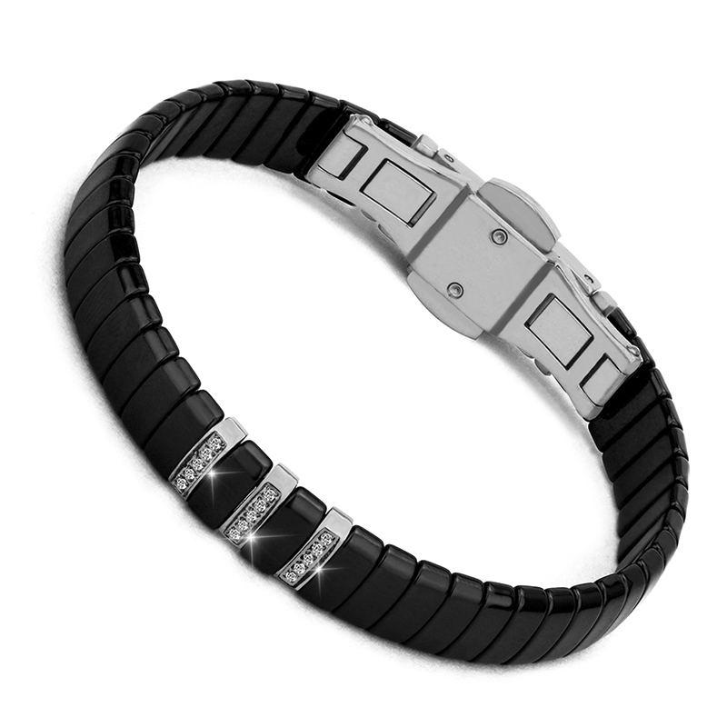 Good Quality Stainless Steel Women Men Bracelet With Cubic Zircons Never Lose Color Black White Ceramic Bangle Bracelet Gift