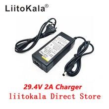 Carregador de bateria de lítio para bicicleta, nova, alta qualidade, 29.4v 2a, 7s, para bateria de lítio 24v 2a carregador de plugue conector rca