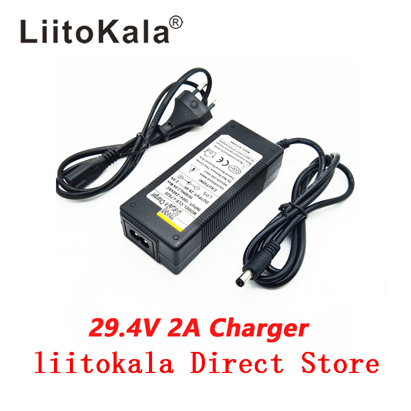 NEW High quality 29 4V 2A 7S electric bike lithium battery charger for 24V 2A lithium battery pack RCA Plug connector charger