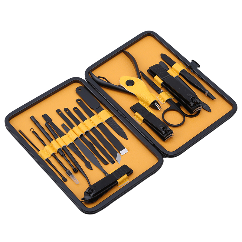 18pcs Black Men Grooming Kit Newest Design PU Leather Case Manicure Set Nail Clipper Kit Pedicure Care Tools