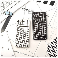 New Black White Grid Geometric Pattern Protective Sleeve For iPhone 6 6s 6Plus 6s Plus 7 7Plus Silicone TPU Phone Back Cover
