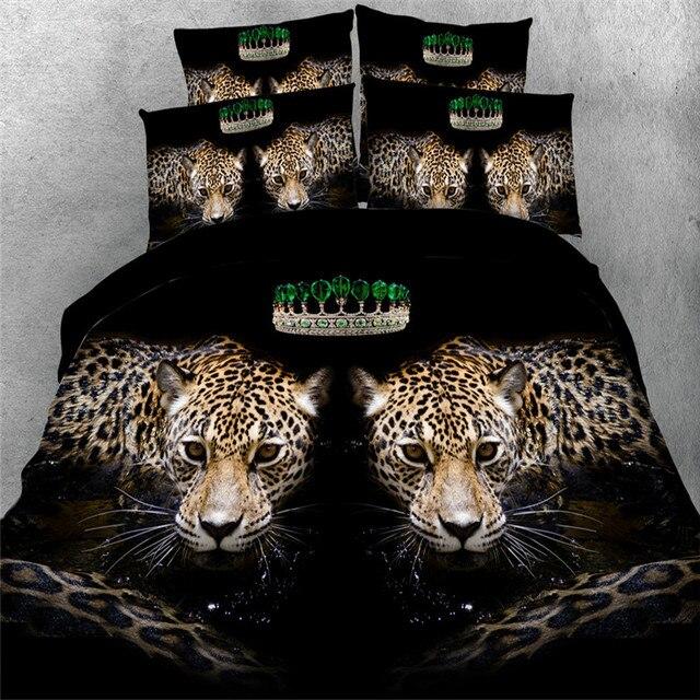 Coton 3d Leopard Elephant Cheval Chat 4 Pcs Literie Pas De